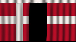 Danmark Flag - Paper Curtain stock footage