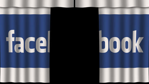 Facebook Curtain - Media Opener stock footage