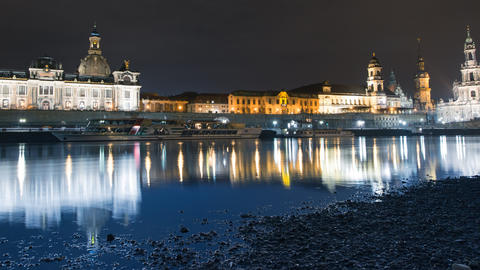 4k UHD Old Town Dresden At Night Time Lapse Pan stock footage
