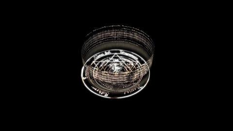 rotating christ rune around witchcraft pentagram baphomet,dazzling energy rays Animation