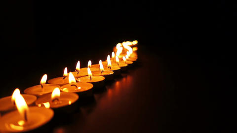 Long Curvy Line Of Candles stock footage