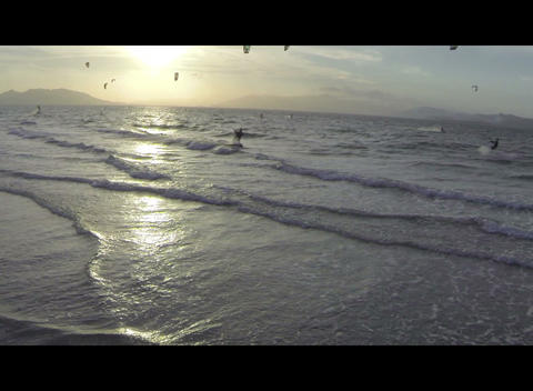 Kite Surfer at Sunset Footage