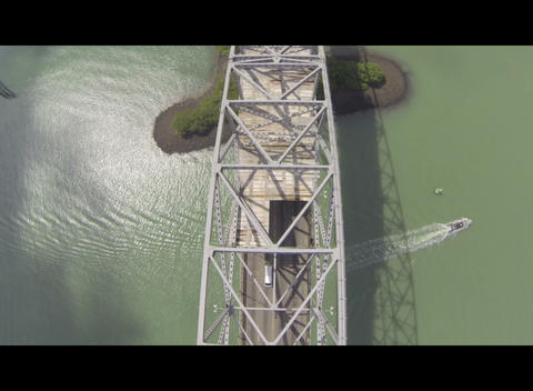 Flying Over The Bridge Of The Americas stock footage