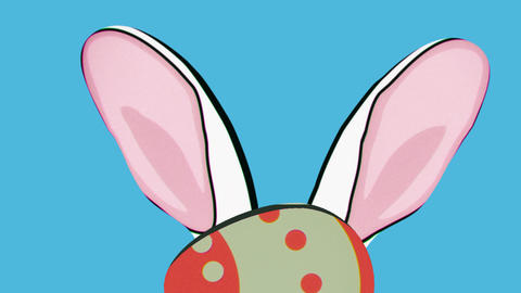 Rabbit hiding behind easter egg, toon style Animation