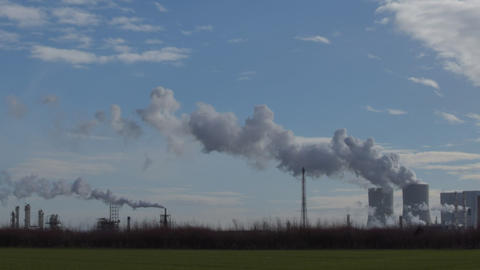 Coal Power Station Pollution Time Lapse Pan 11302 stock footage