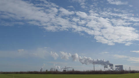 Coal Power Station Pollution Time Lapse Wide 11306 stock footage