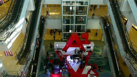 elevator and escalator in shopping malls scene,modern city environment Animation