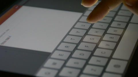 Virtual Keyboard,Typing An Email On A Touchscreen Keyboard,Shallow Depth Of Fiel stock footage