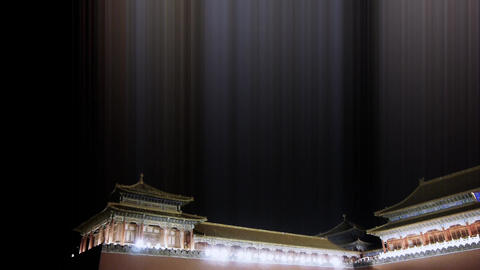 Panoramic of Beijing Forbidden City & Gorgeous palace.the Great Wall battlem Animation