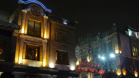 china old style building in night CG動画