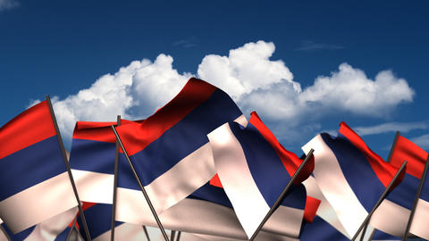 Waving Serbian Flags Animation