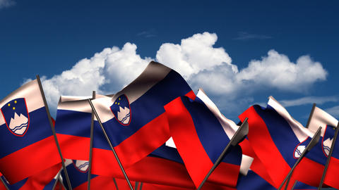 Waving Slovenian Flags Animation
