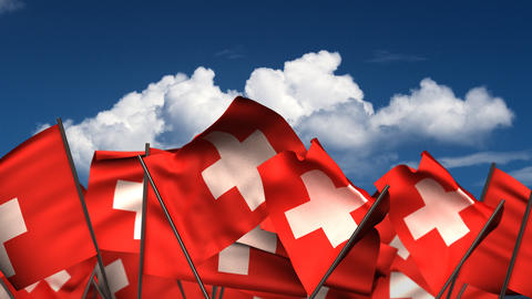 Waving Swiss Flags Animation