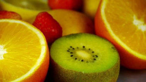 Rotation of delicious fruit plate Animation
