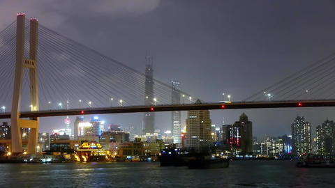 Timelapse,busy shipping on river,across the sea bridge,Brightly urban building Animation
