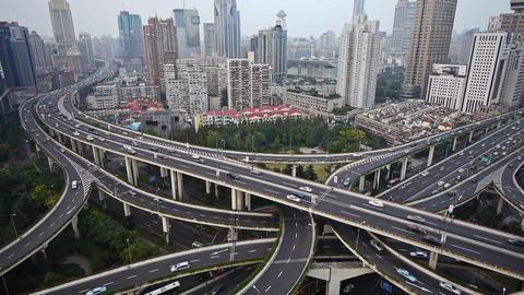 Aerial View of Shanghai Skyline,Heavy traffic on Shanghai highway interchange Animation