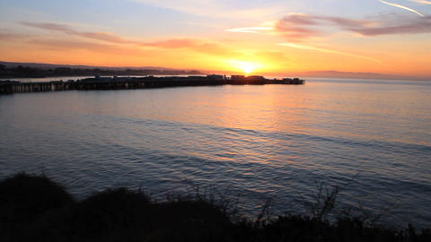 Santa Cruz Sunrise Over The Ocean And Wharf stock footage