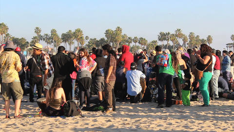 Venice Beach Circle Drum Gathering stock footage