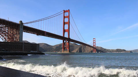 Waves Pounding Under The Golden Gate Bridge Footage