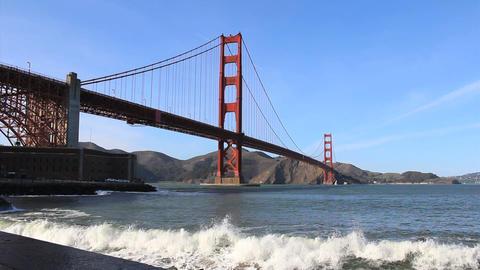 Waves Pounding Under The Golden Gate Bridge Footage