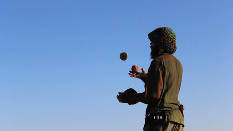 Young Hippy Juggling On Venice Beach Footage