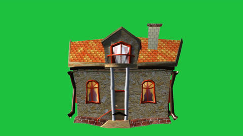 House With Character: Green Screen + Looping Animation