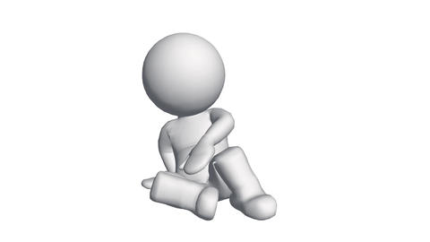 3D cartoon character sitting on ground,comics people relax Animation