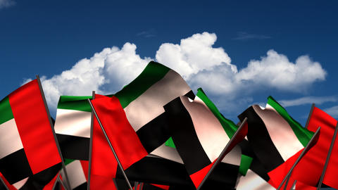 Waving United Arab Emirates Flags Animation