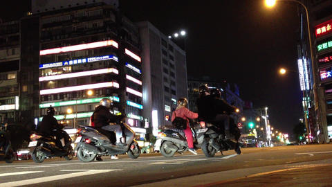 view of a Taipei Main street traffic at night Animation