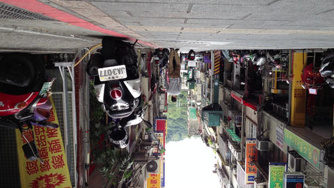 Extreme Low Angle Shot From Lane In Shilin stock footage