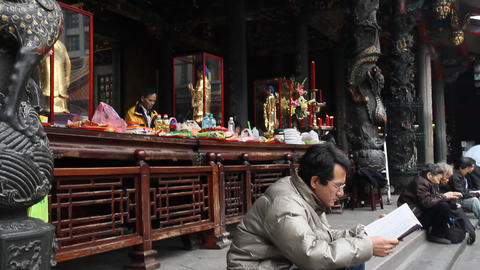 Longshan Temple People Busy In Courtyard stock footage