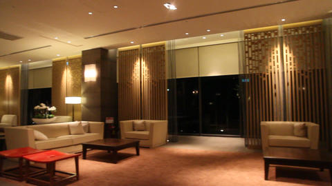 Pan Inside Lobby Of Beitou Luxury Hotel stock footage
