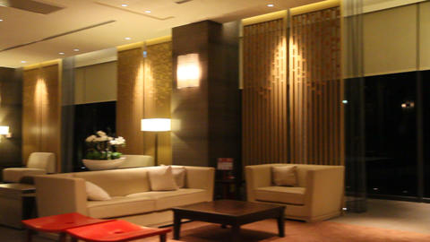 Pan Inside Lobby Of Beitou Luxury Hotel 2 stock footage