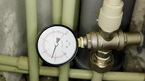 Water pressure meter installed, Full HD Footage