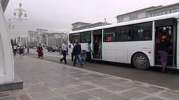 Bus Station In Ashgabat stock footage