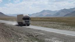 Chinese cargo trucks in Tajikistan Footage