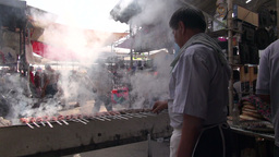Preparing fresh kebab in Uzbekistan Asia Footage