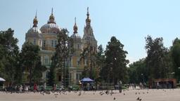 Russian church in park Almaty Kazakhstan Footage