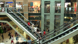 Escalators in shopping mall Astana Kazakhstan Footage