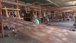 Traditional silk weaving factory Uzbekistan Footage