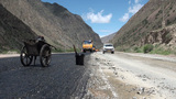 Chinese Road Building In Kyrgyzstan stock footage