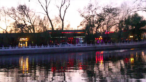 beautiful houhai lake in the evening 2 Footage