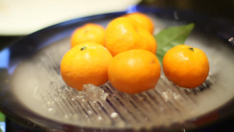 A Mandarin Orange Desert In A Peking Duck Restaura stock footage