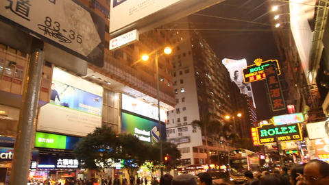Nathan road, A busy intersection in Hong Kong Footage