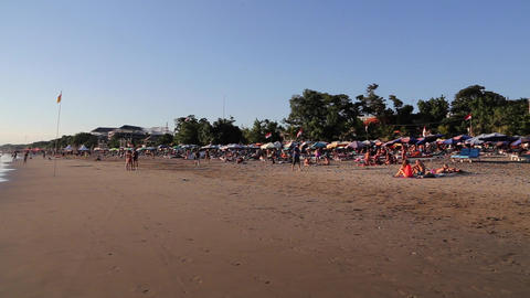 a pan of legian beach in bali Live Action