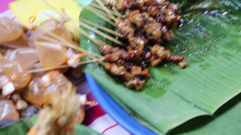 Delicious Malaysian Satay stock footage