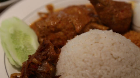 delicious chicken nasi lemak curry Footage