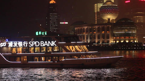 Bund night scene from boat to the iconic pearl tow Footage