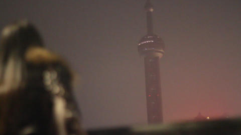 Bund night scene - artistic shot of young stylish  Footage