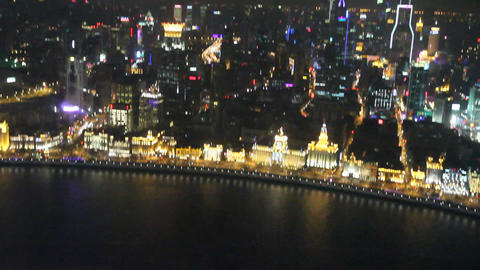 view of the bund at night from the pearl tower Live影片